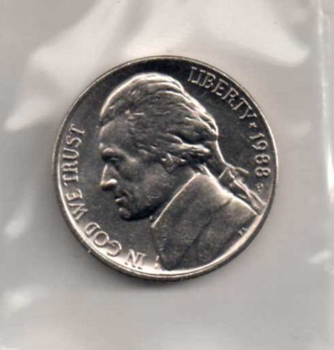1988 p BU Jefferson Nickel