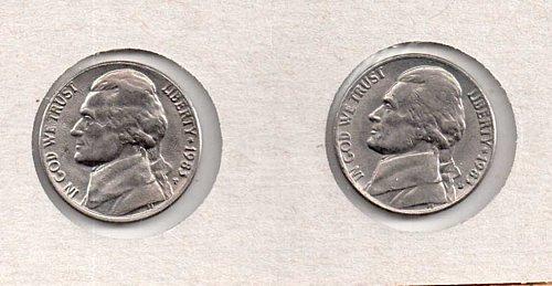 1983 p+d BU Jefferson Nickels