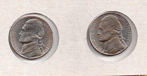 2004 p+d BU Jefferson Nickels:  Peace Medal