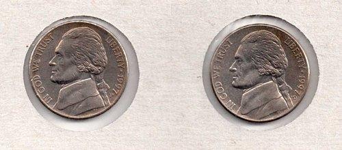1997 p+d UNC Jefferson Nickels