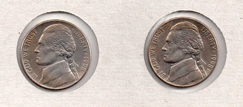 1998 p+d UNC Jefferson Nickels