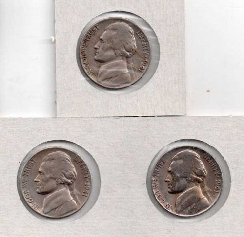 1941 p,d,s Circulated Jefferson Nickels