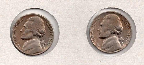 1957 p,d Circulated  Jefferson Nickels