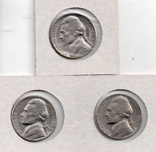 1965 p, 66 p, 67 p Circulated  Jefferson Nickels