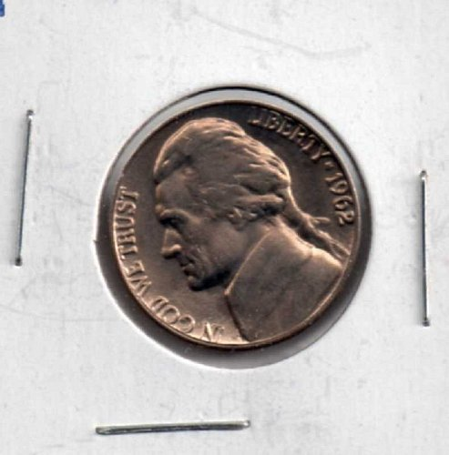 1962 p Jefferson Nickel - Double Strike