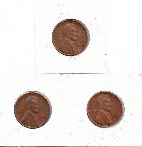 1940 p,d,s Lincoln Wheat Pennies