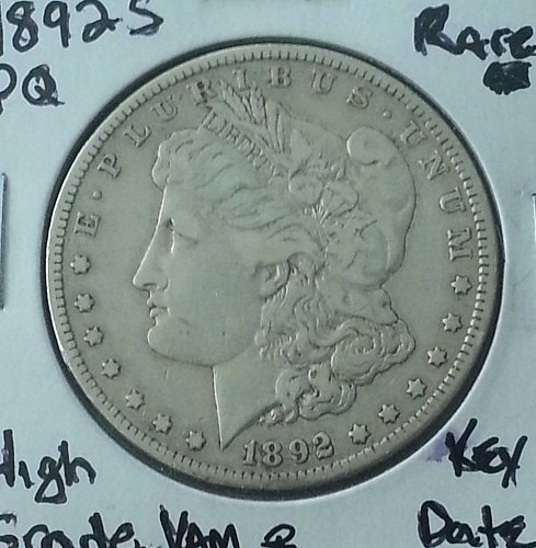1892 S Morgan Silver Dollar Rare Key Date XF45 with AU Details