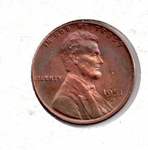 1951 d Lincoln Wheat Penny