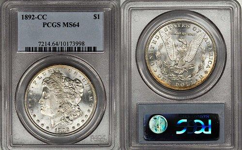 1892 CC MORGAN DOLLAR PCGS MS64 BRILLIANT HIGH GRADE