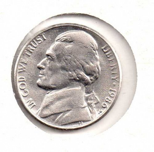 1986 p Jefferson Nickel