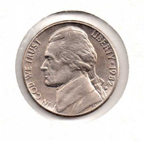 "1982 d Jefferson Nickel - Filled ""D"""