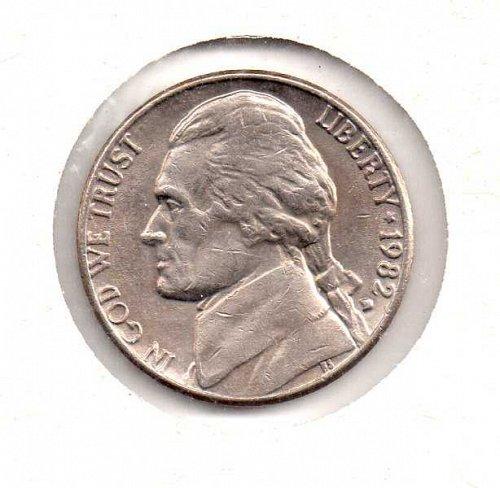 """1982 d Jefferson Nickel - Filled """"D"""""""