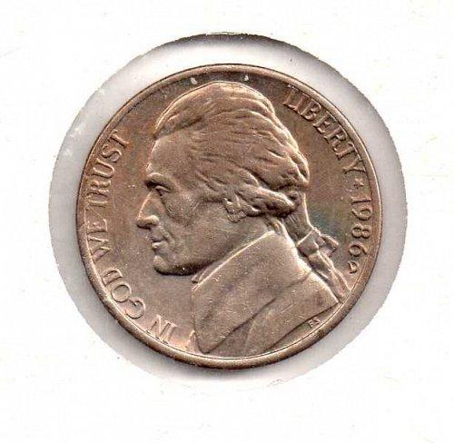 1986 d Jefferson Nickel