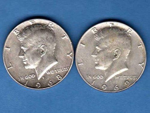 Two (2)AU 40% Silver Halves US Coins