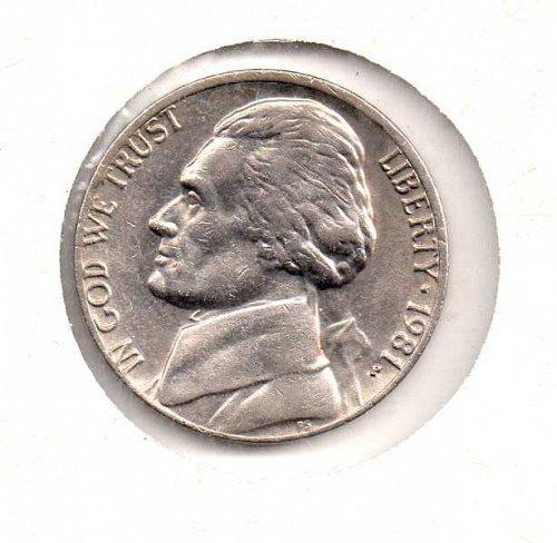 1981 p Jefferson Nickel           #2