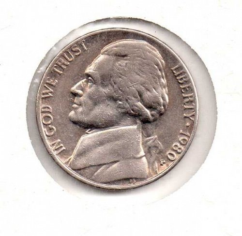 1980 p Jefferson Nickel                #2