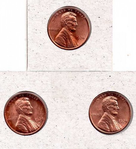 1974 p,d,s Lincoln Memorial Penny