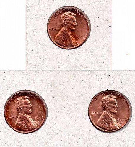 1974 p,d,s Lincoln Memorial Penny