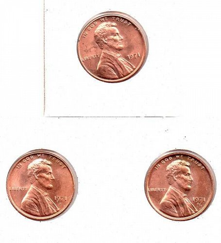 1971 p,d,s Lincoln Memorial Penny
