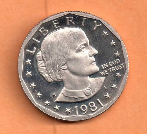 1981 s Susan B Anthony Dollar - Type 2 - Clear S - Proof