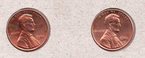 1988 p,d Lincoln Memorial Penny