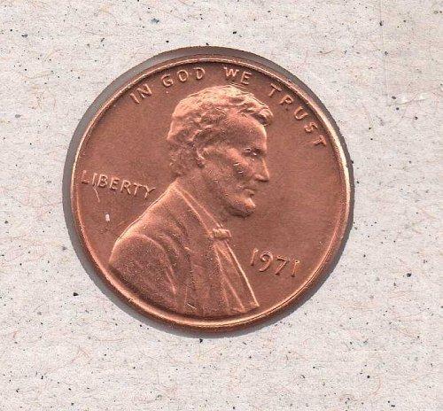 1971 p Lincoln Memorial Penny - BU - #1