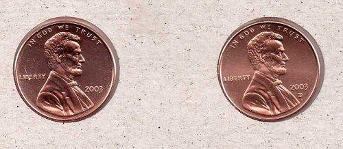 2003 p,d Lincoln Memorial Penny - BU - #1