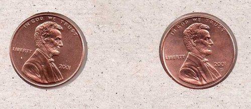 2001 p,d Lincoln Memorial Penny - BU - #1