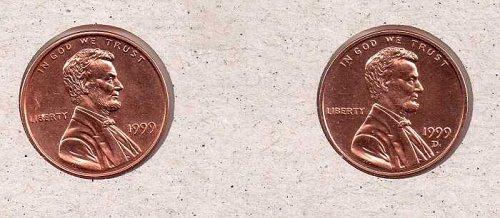 1999 p,d Lincoln Memorial Penny - BU - #1