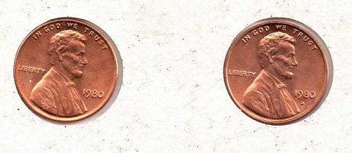 1980 p,d Lincoln Memorial Penny - BU - #1