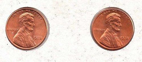 1978 p,d Lincoln Memorial Penny - BU - #2