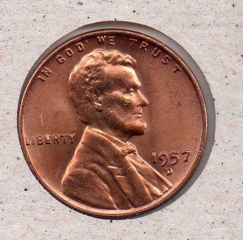 1957 d Lincoln Wheat Penny - BU - #2