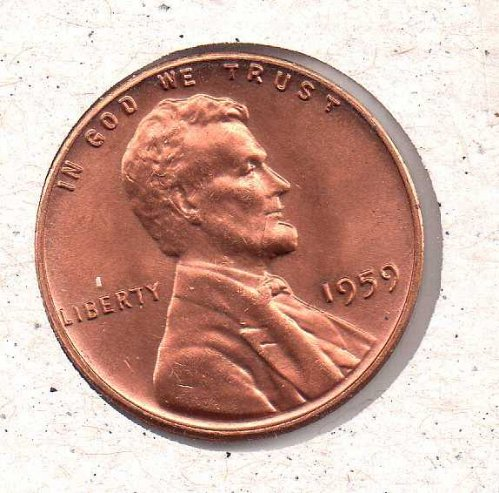 1959 p Lincoln Memorial Penny - BU - #1