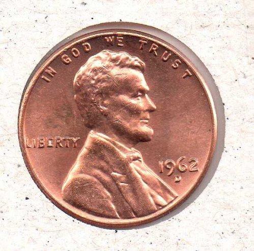 1962 d Lincoln Memorial Penny - BU - #1