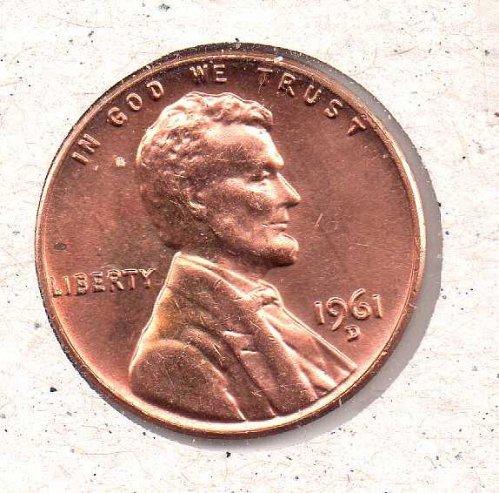 1961 d Lincoln Memorial Penny - BU - #1