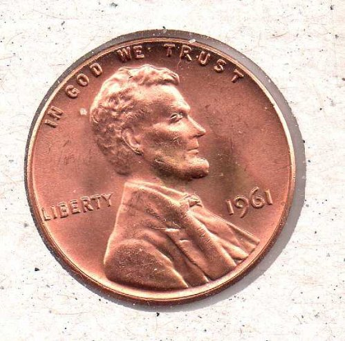 1961 p Lincoln Memorial Penny - BU - #1