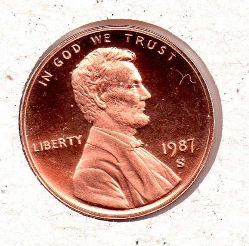 1987 s Lincoln Memorial Penny - Proof - #1