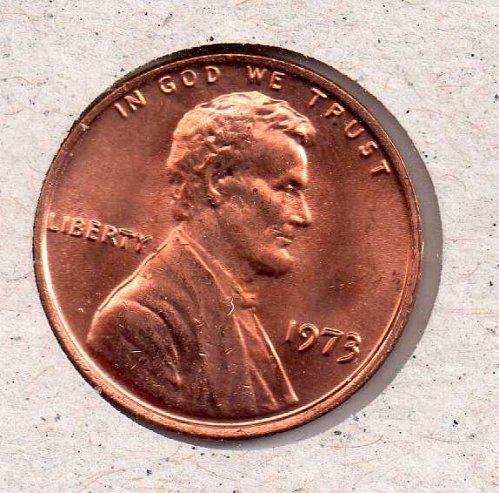 1973 p Lincoln Memorial Penny - UNC - #2