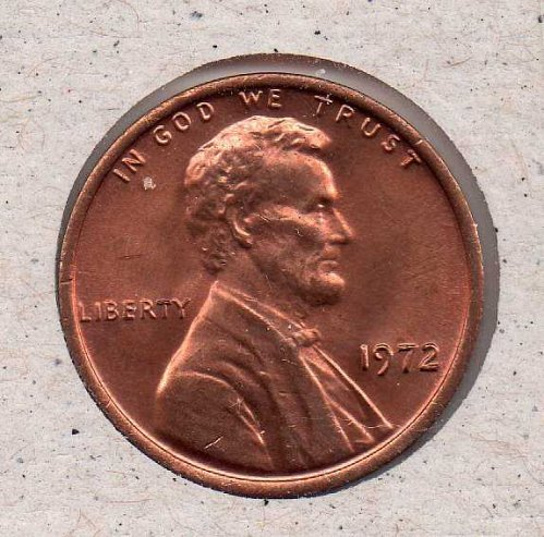 1972 p Lincoln Memorial Penny - UNC - #1