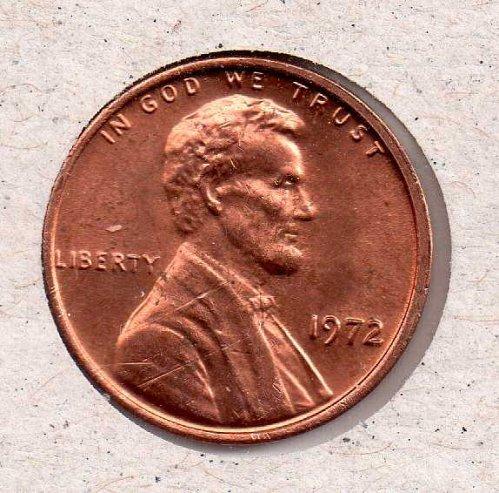 1972 p Lincoln Memorial Penny - UNC - #2