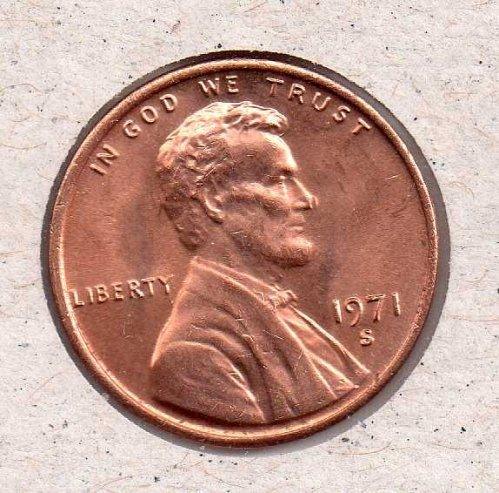 1971 s Lincoln Memorial Penny - UNC - #2