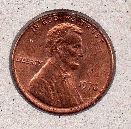 1976 p Lincoln Memorial Penny - UNC - #1