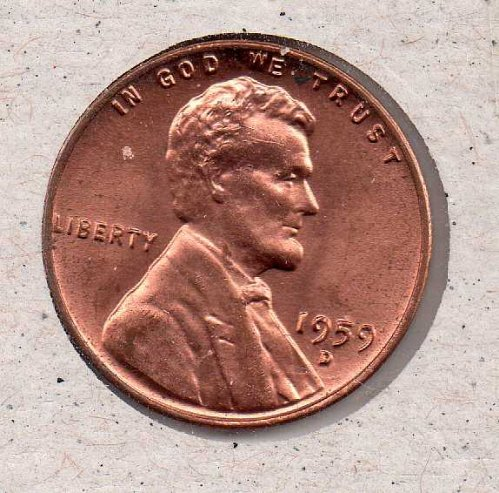 1959 d Lincoln Memorial Penny - UNC - #1