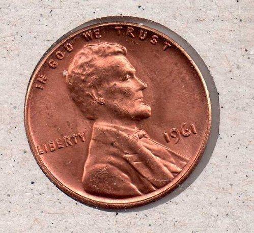 1961 p Lincoln Memorial Penny - UNC - #1