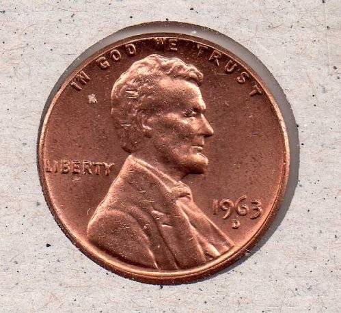1963 d Lincoln Memorial Penny - UNC - #1