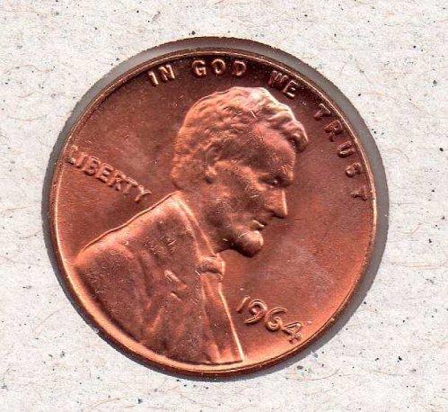 1964 p Lincoln Memorial Penny - UNC - #2