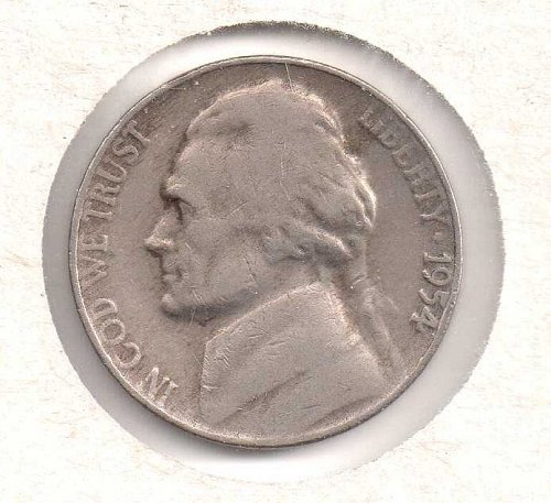 1954 p Jefferson Nickel