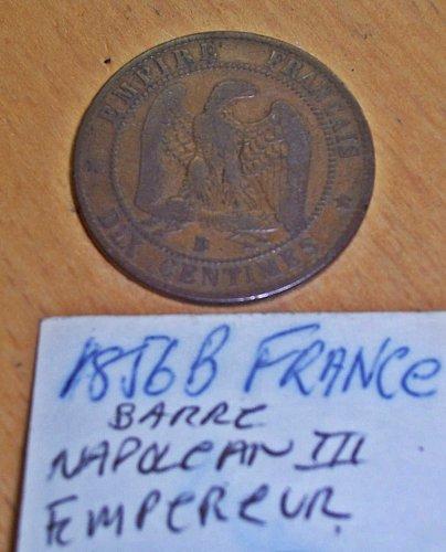 1856 B Napolean III Dix Centimes