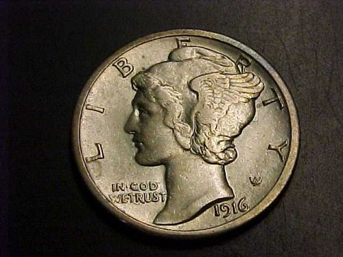 FREE SHIPPING GORGEOUS RARE 1916 D SILVER MERCURY DIME AU 55 BUY NOW OR OFFER
