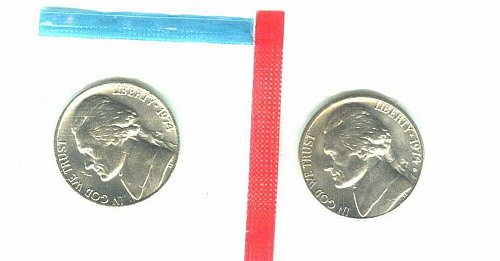 1974 P + D Jefferson Nickels BU From US Mint Set In Cello!